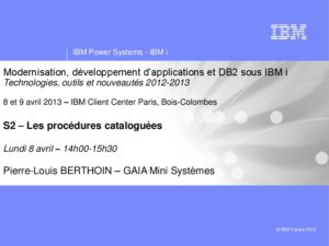 Icon of S2-DB2-SQL - Les Procedures Catalogues